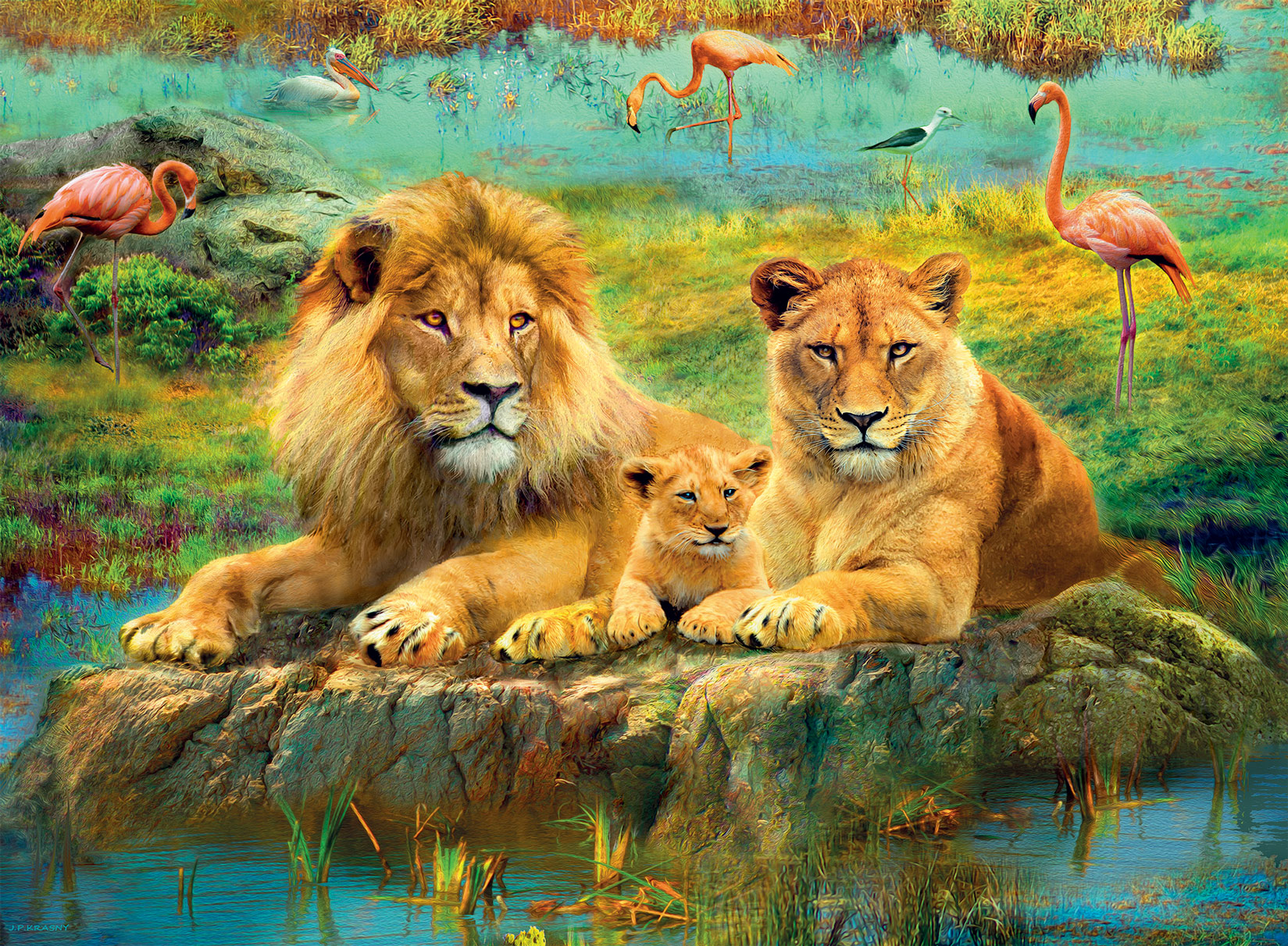 Lions  in the Savannah Animals Jigsaw Puzzle