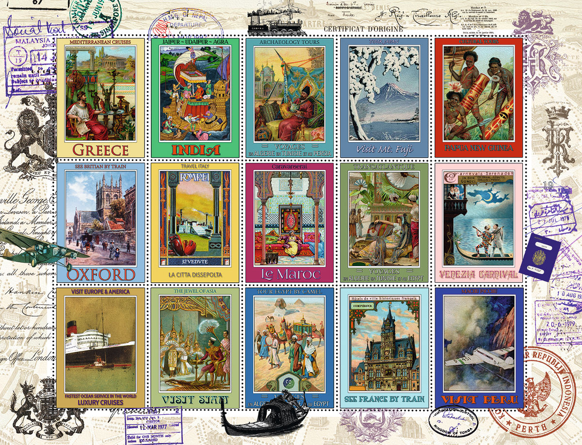 Vacation Stamps Travel Jigsaw Puzzle