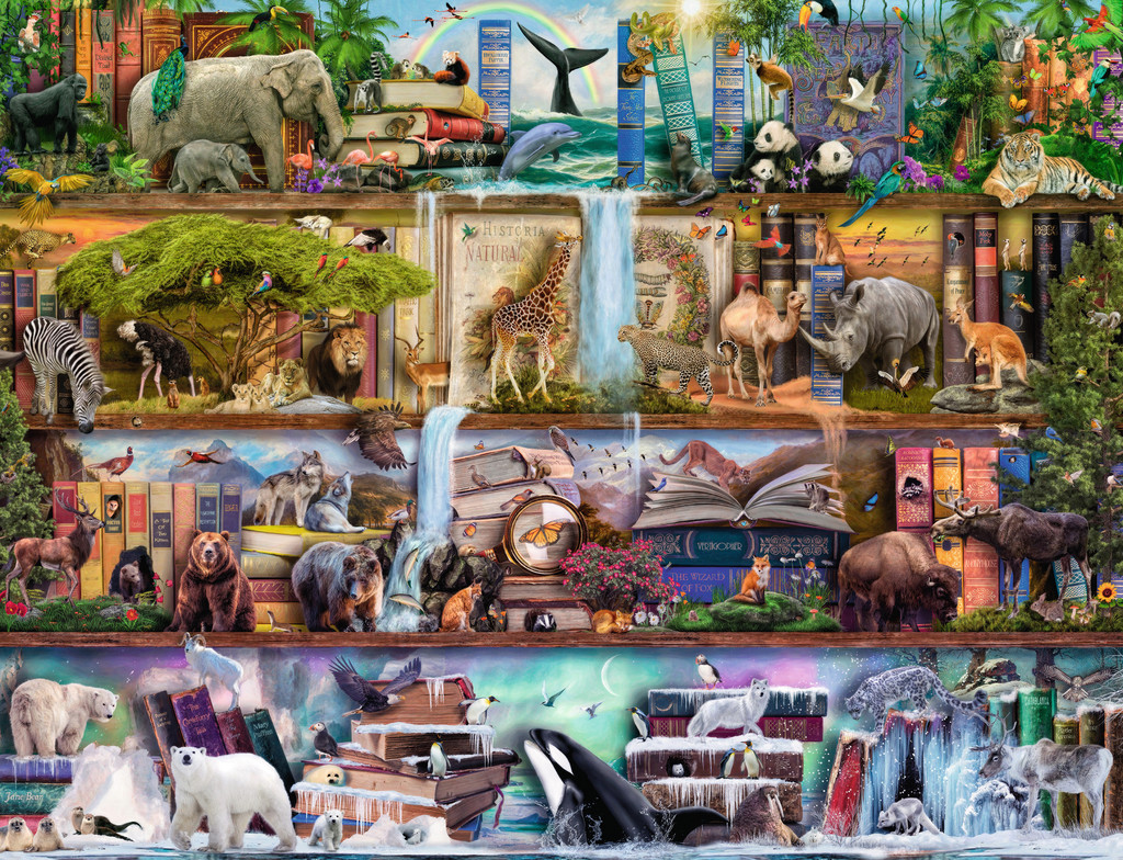 Wild Kingdom Shelves Animals Jigsaw Puzzle