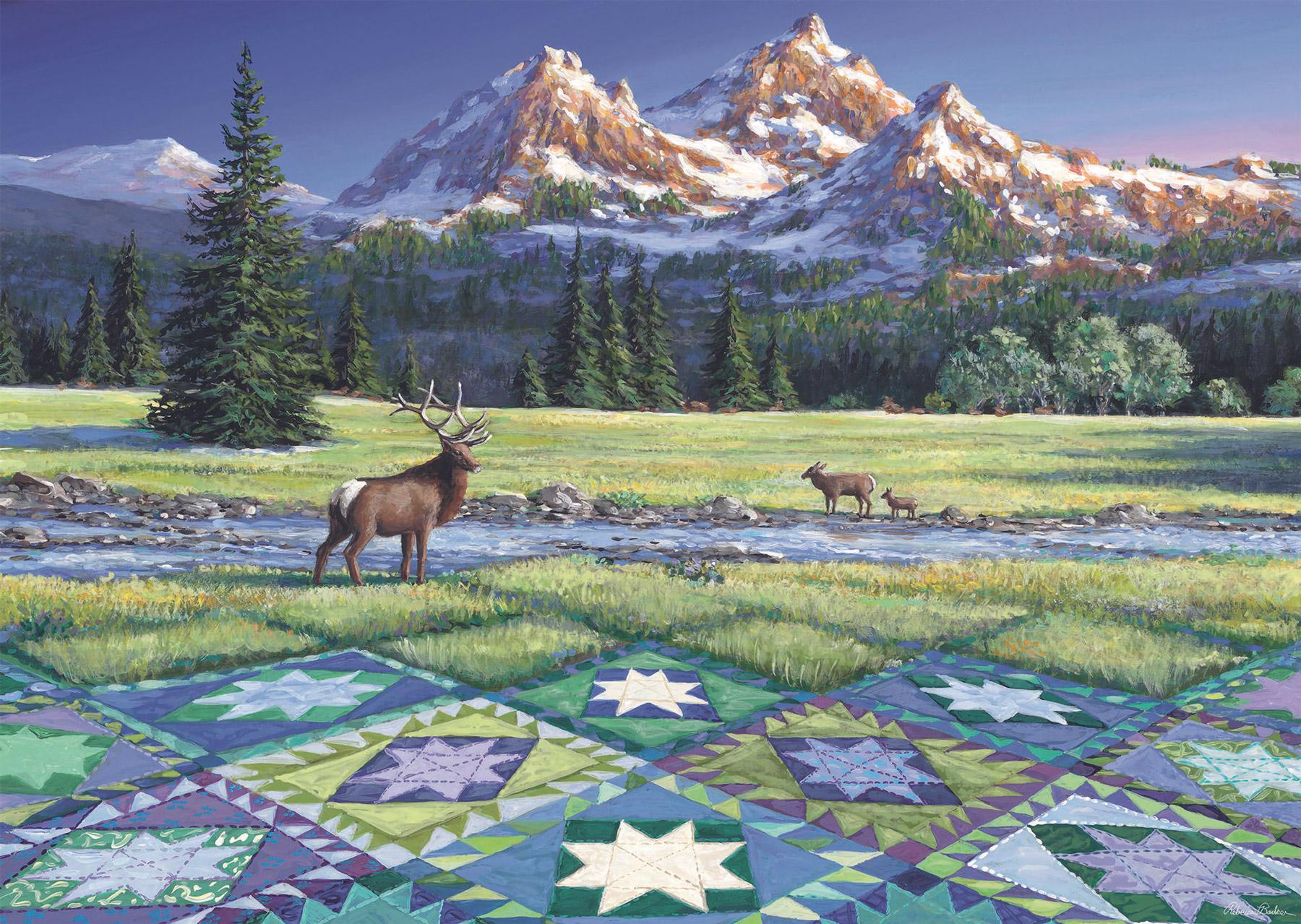Mountain Quiltscape Landscape Jigsaw Puzzle