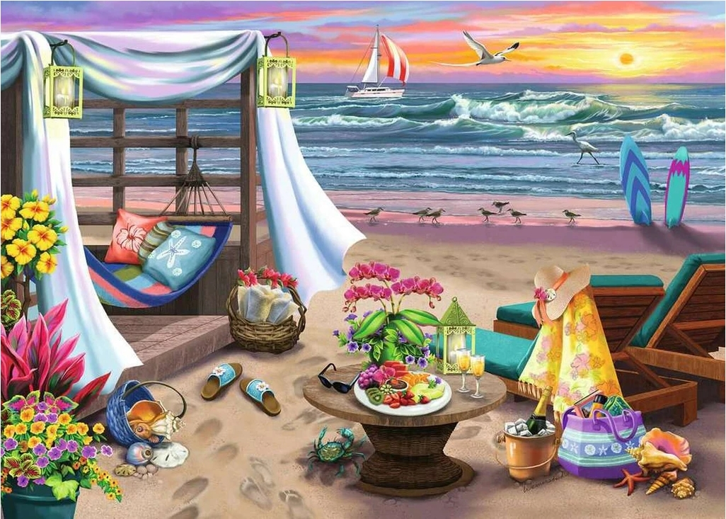 Cabana Retreat Beach Jigsaw Puzzle