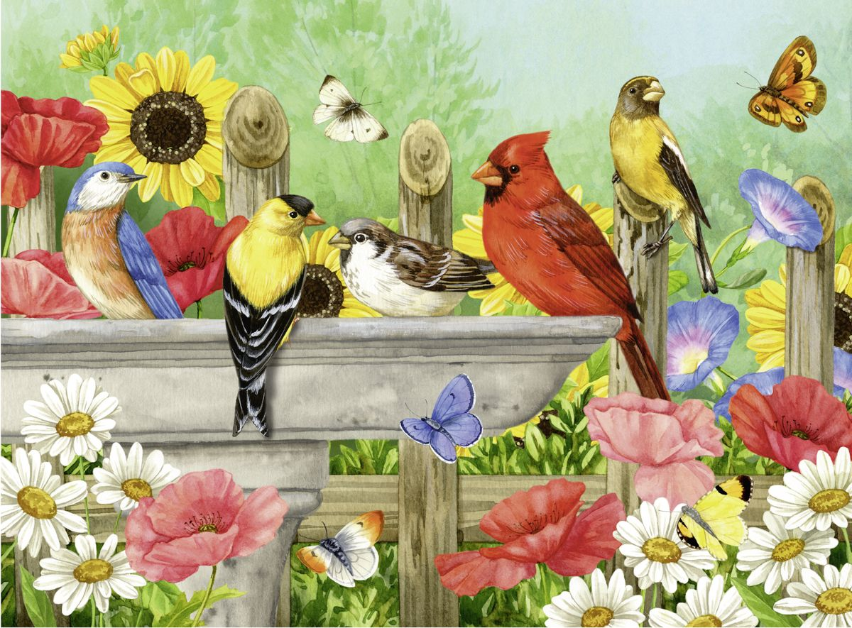 At the Birdbath Birds Jigsaw Puzzle