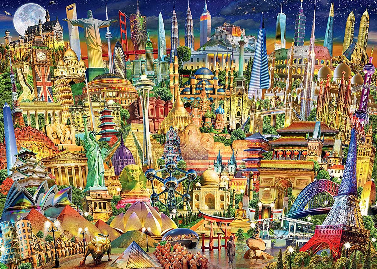 World Landmarks at Night Travel Jigsaw Puzzle