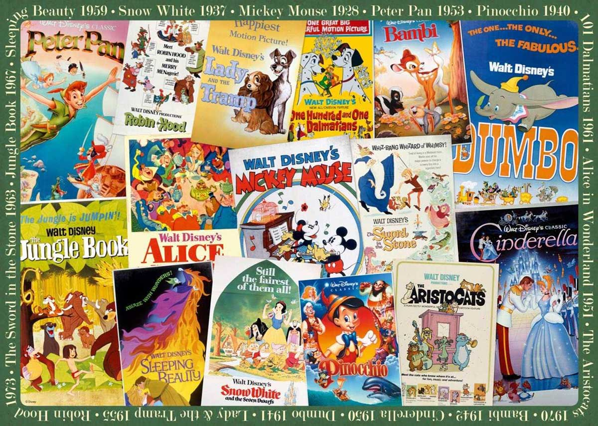 Disney Vintage Movie Posters Disney Jigsaw Puzzle