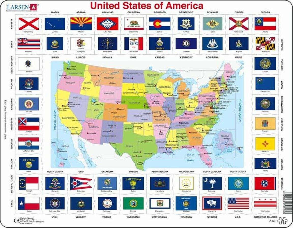 United States Of America Flag Educational Tray Puzzle