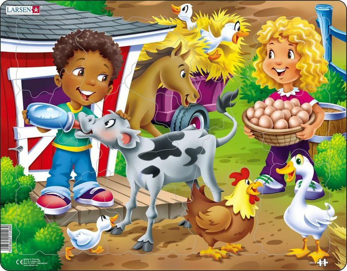 Farm Kids With Calf Farm Children's Puzzles