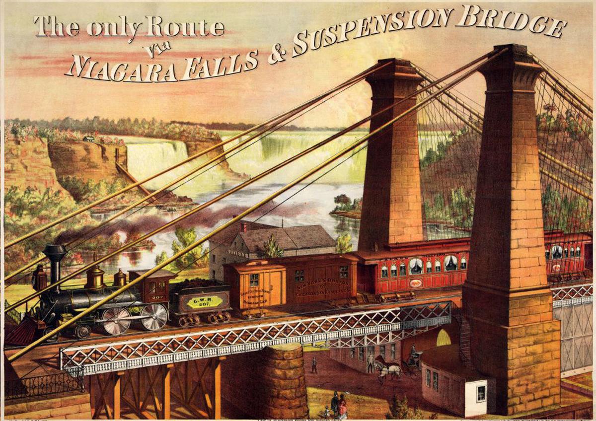 Niagara Falls Suspension Bridge Trains Jigsaw Puzzle