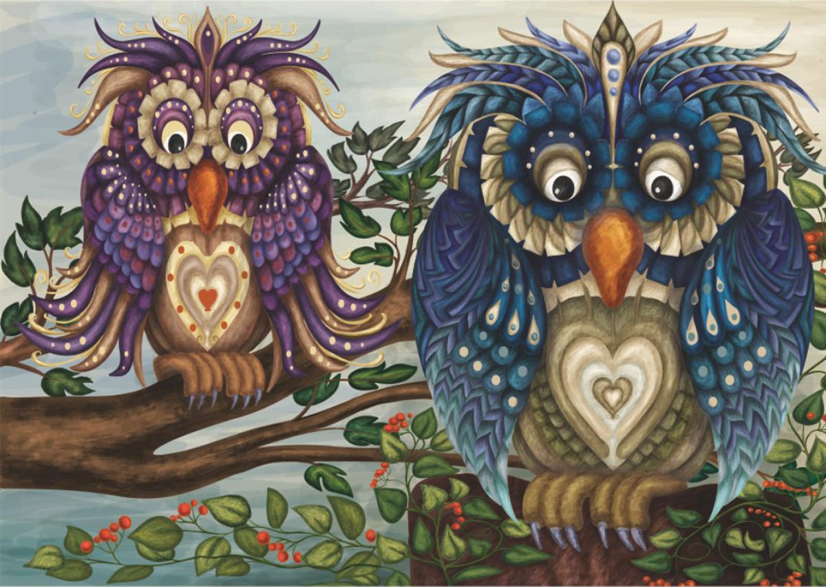 Fancy Owls Owl Jigsaw Puzzle