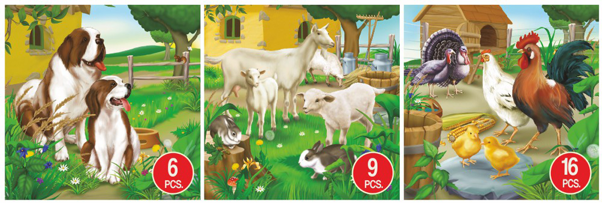 Dog, Goat, & Chicken Animal 3-Pack Dogs Jigsaw Puzzle