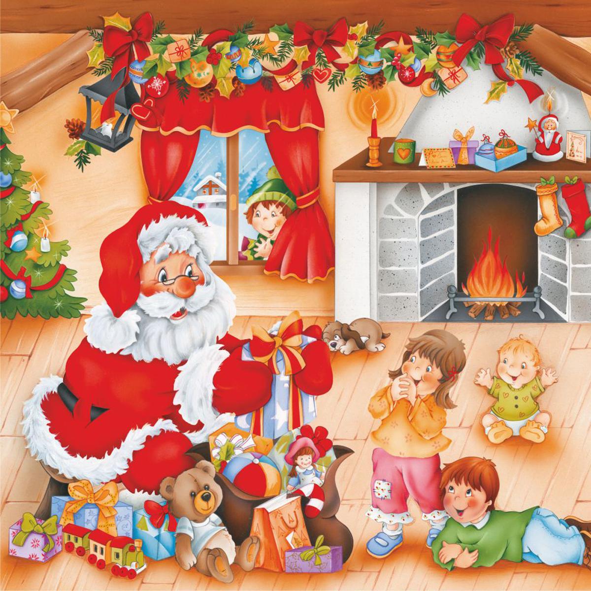 Santa Fireplace Cartoon Santa Jigsaw Puzzle