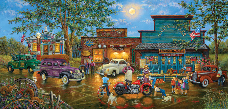The New Bike in Town Folk Art Jigsaw Puzzle