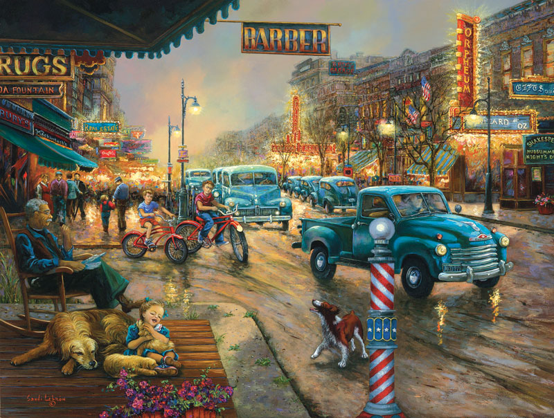 A Bustling Saturday Night Americana Jigsaw Puzzle