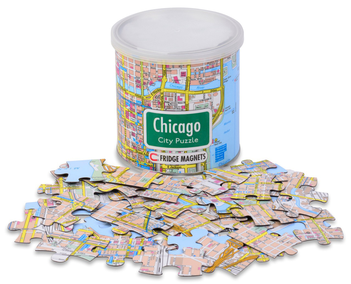 City Magnetic Puzzle Chicago Maps / Geography Jigsaw Puzzle