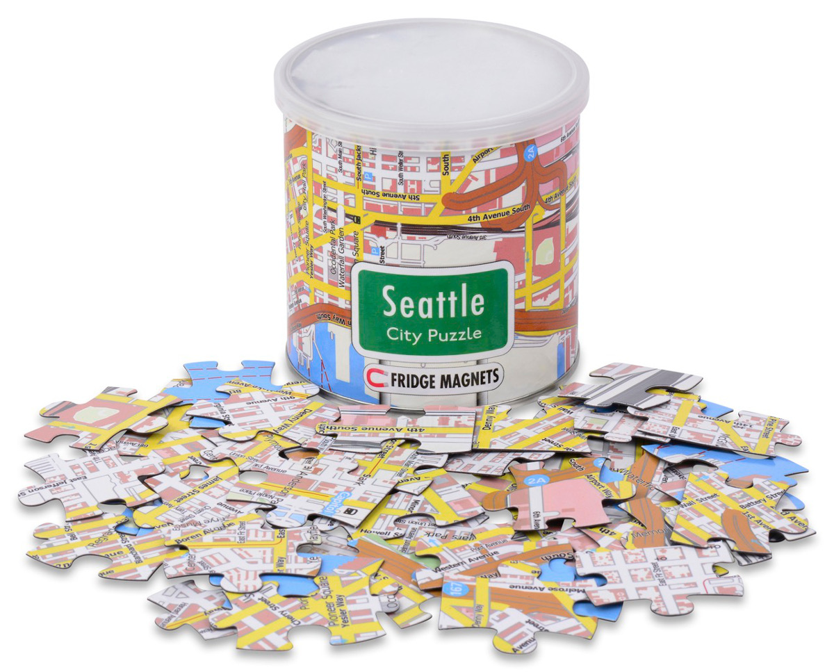 City Magnetic Puzzle Seattle Maps / Geography Jigsaw Puzzle