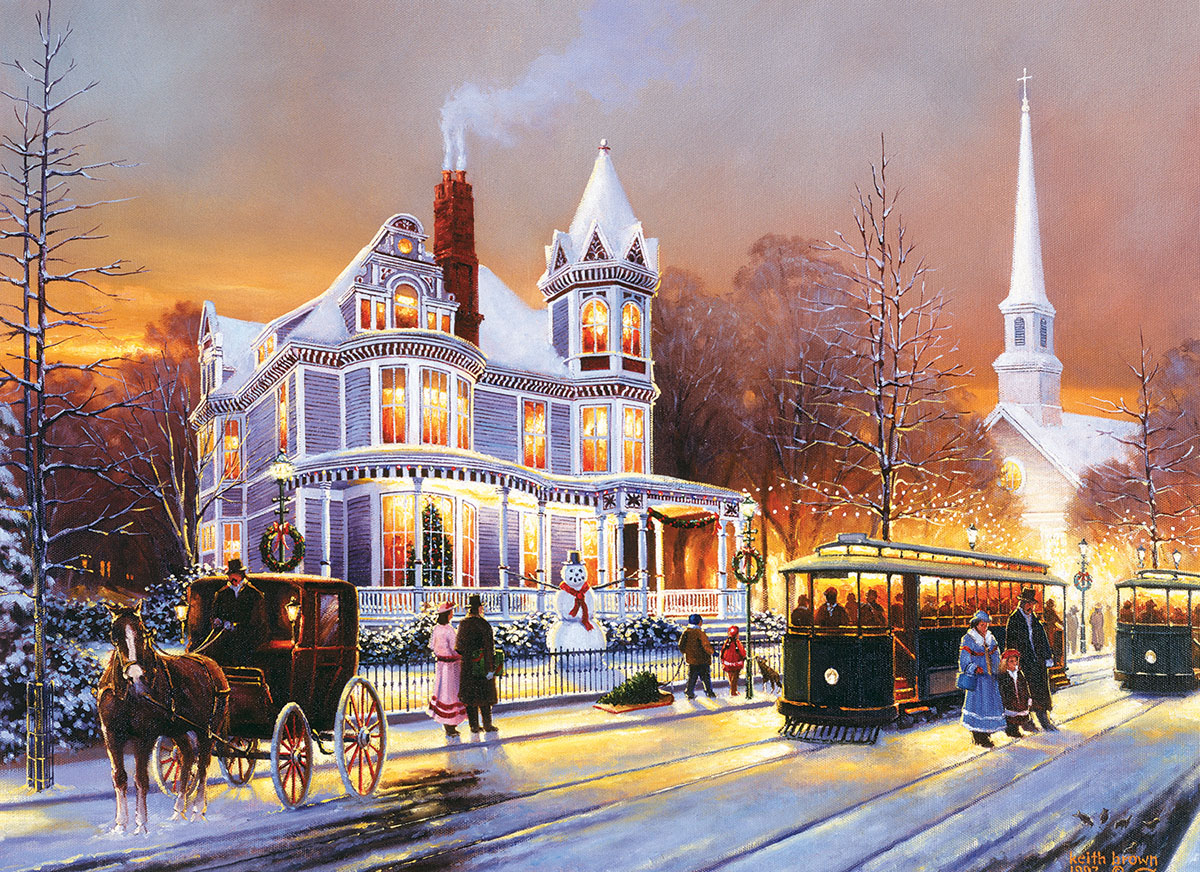 Winter in the City Street Scene Jigsaw Puzzle