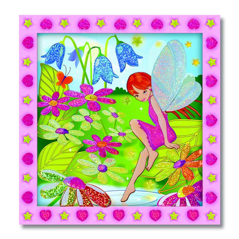 Peel and Press Sticker by Number - Flower Garden Fairy Fairies Glitter/Shimmer/Foil