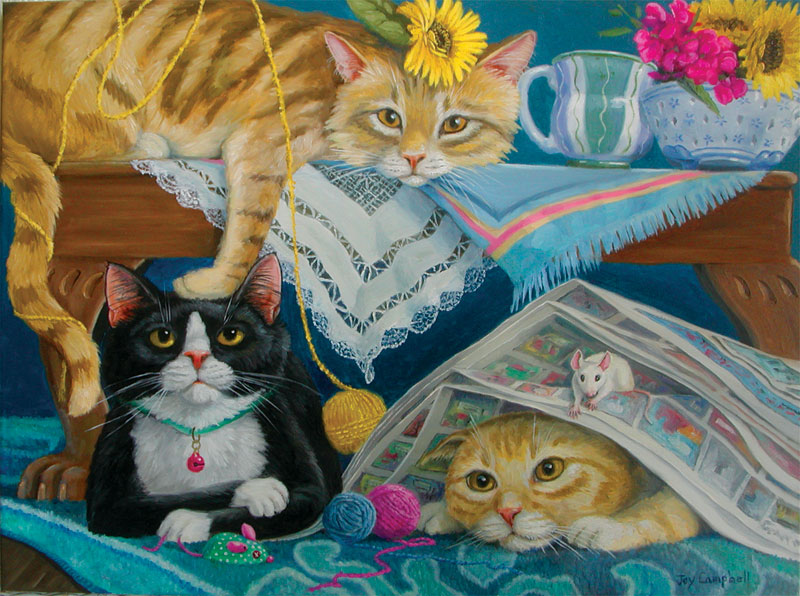 Sunday Morning Funnies Cats Jigsaw Puzzle