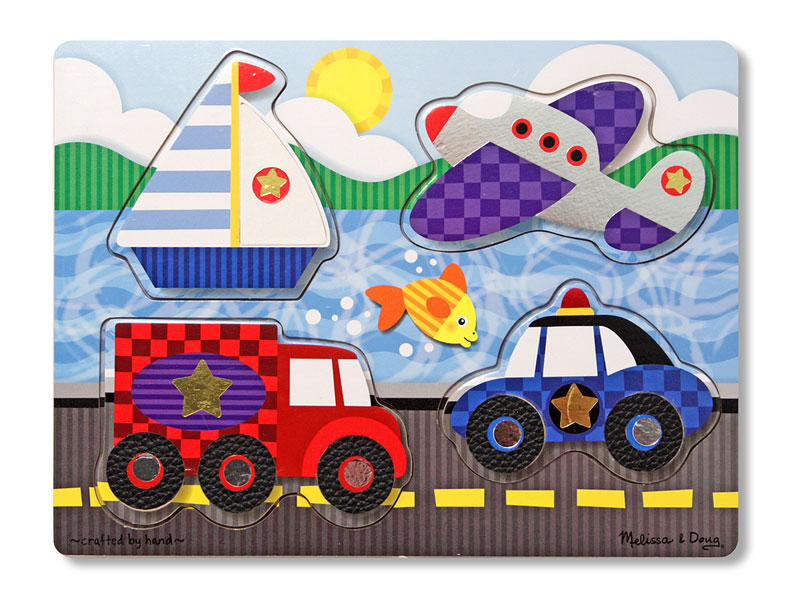 Vehicles Touch and Feel Puzzle Cars Wooden