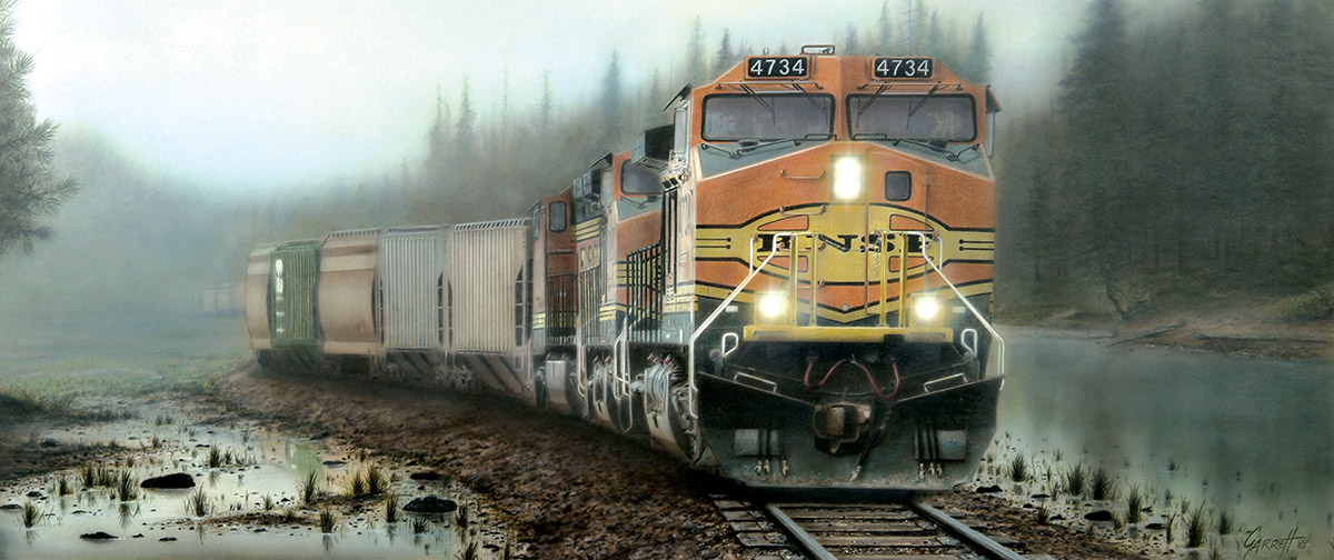 Giants in the Mist - Scratch and Dent Trains Jigsaw Puzzle