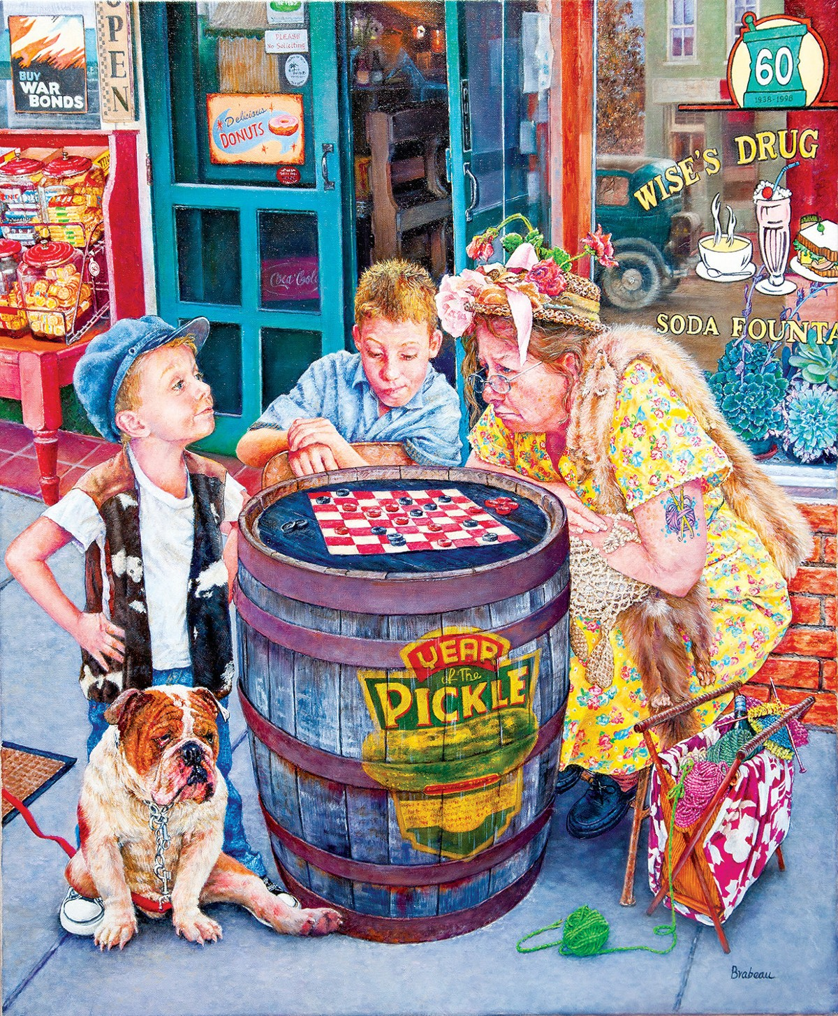 Playing Checkers Street Scene Jigsaw Puzzle
