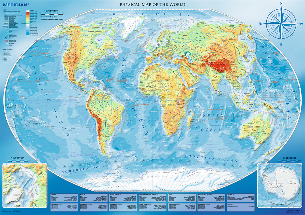 Large Physical Map of the World/Meridian Maps / Geography Jigsaw Puzzle