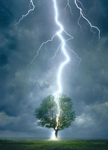Lightning Striking Tree Photography Jigsaw Puzzle