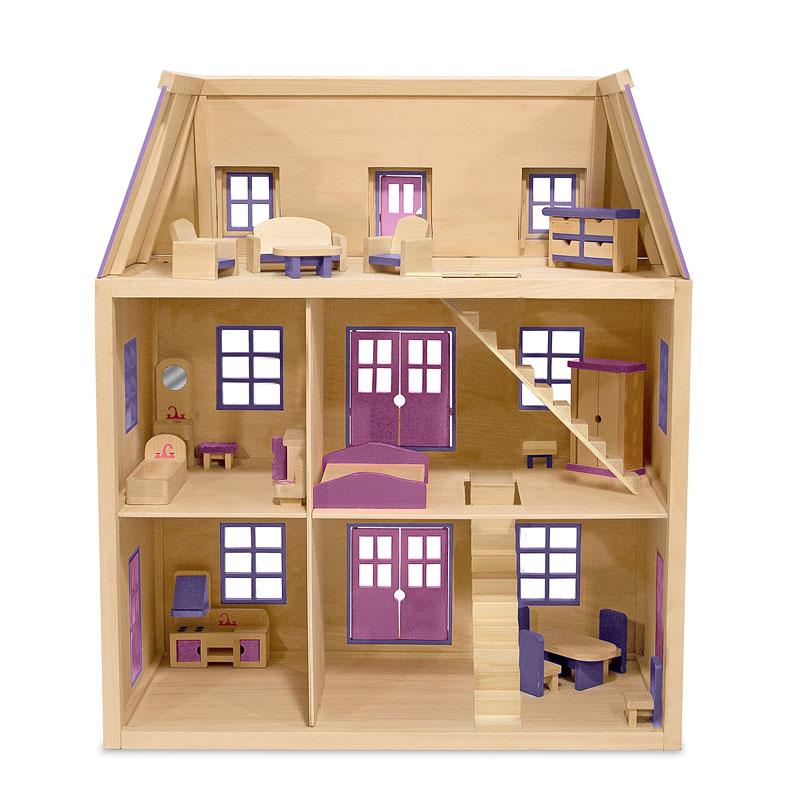 Multi-Level Wooden Dollhouse