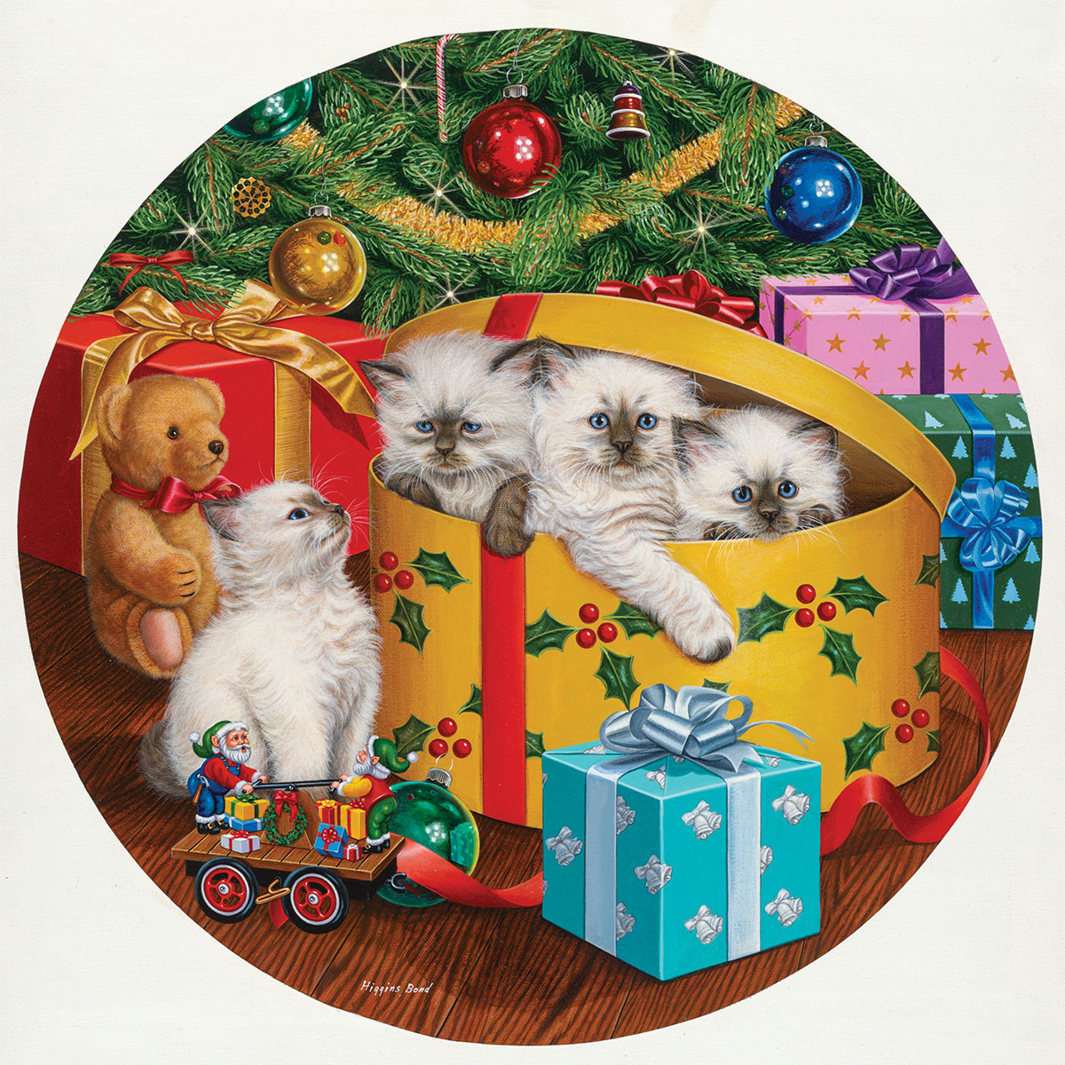 Can We Come Out Now Cats Round Jigsaw Puzzle