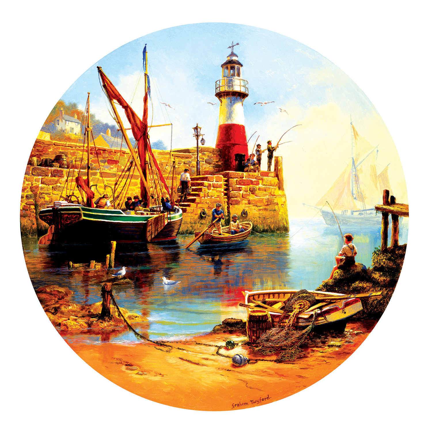 At the Harbor - Scratch and Dent Lighthouses Shaped Puzzle