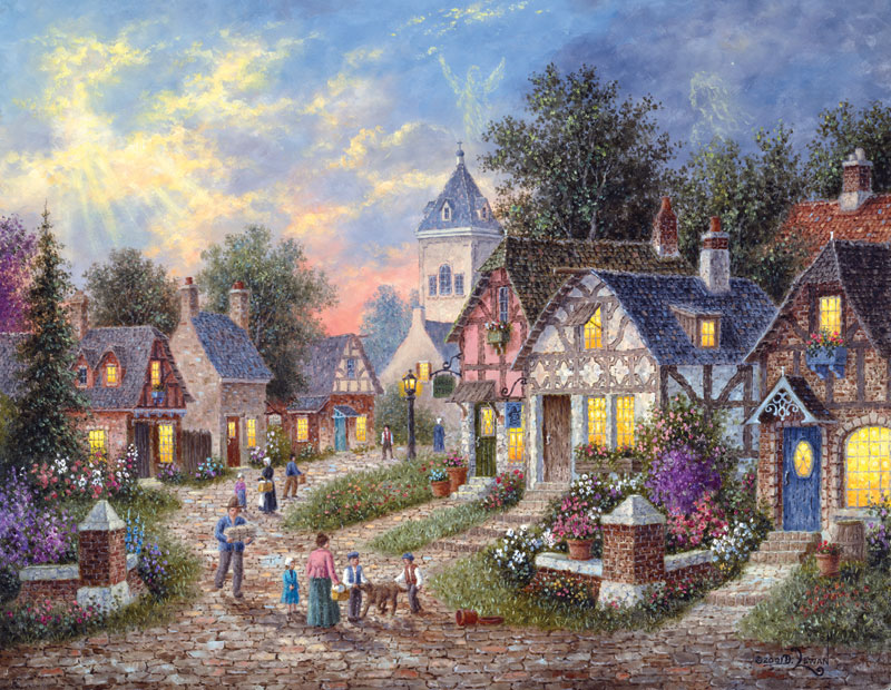 Twilight Village Countryside Jigsaw Puzzle