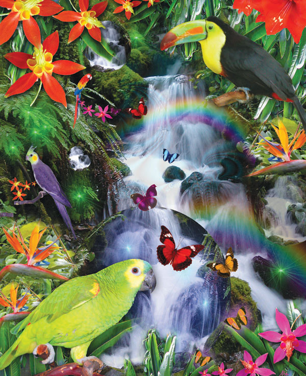 Rainbow Rainforest Birds Jigsaw Puzzle