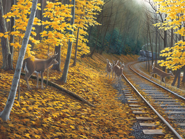 Fall Deer Tracks Fall Jigsaw Puzzle