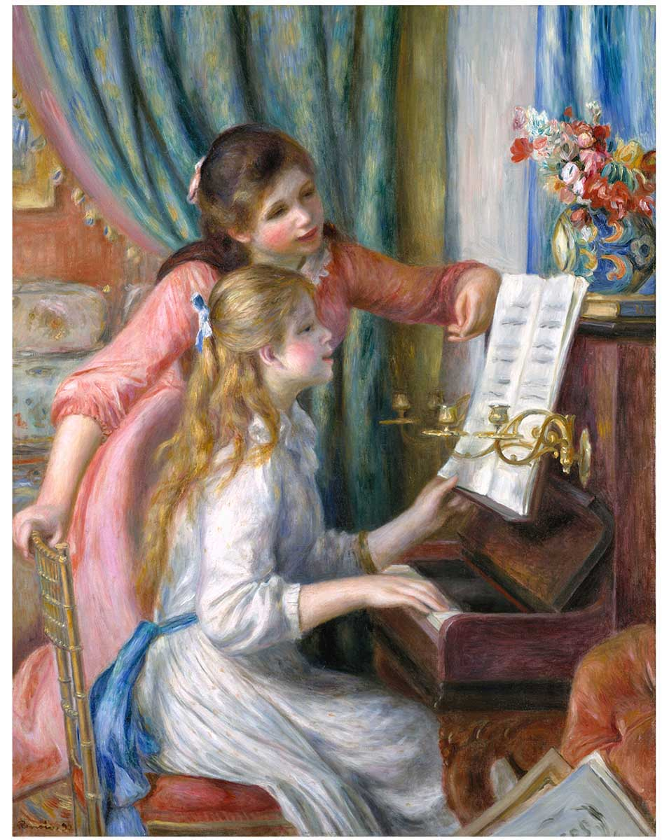 Two Young Girls at the Piano Fine Art Jigsaw Puzzle