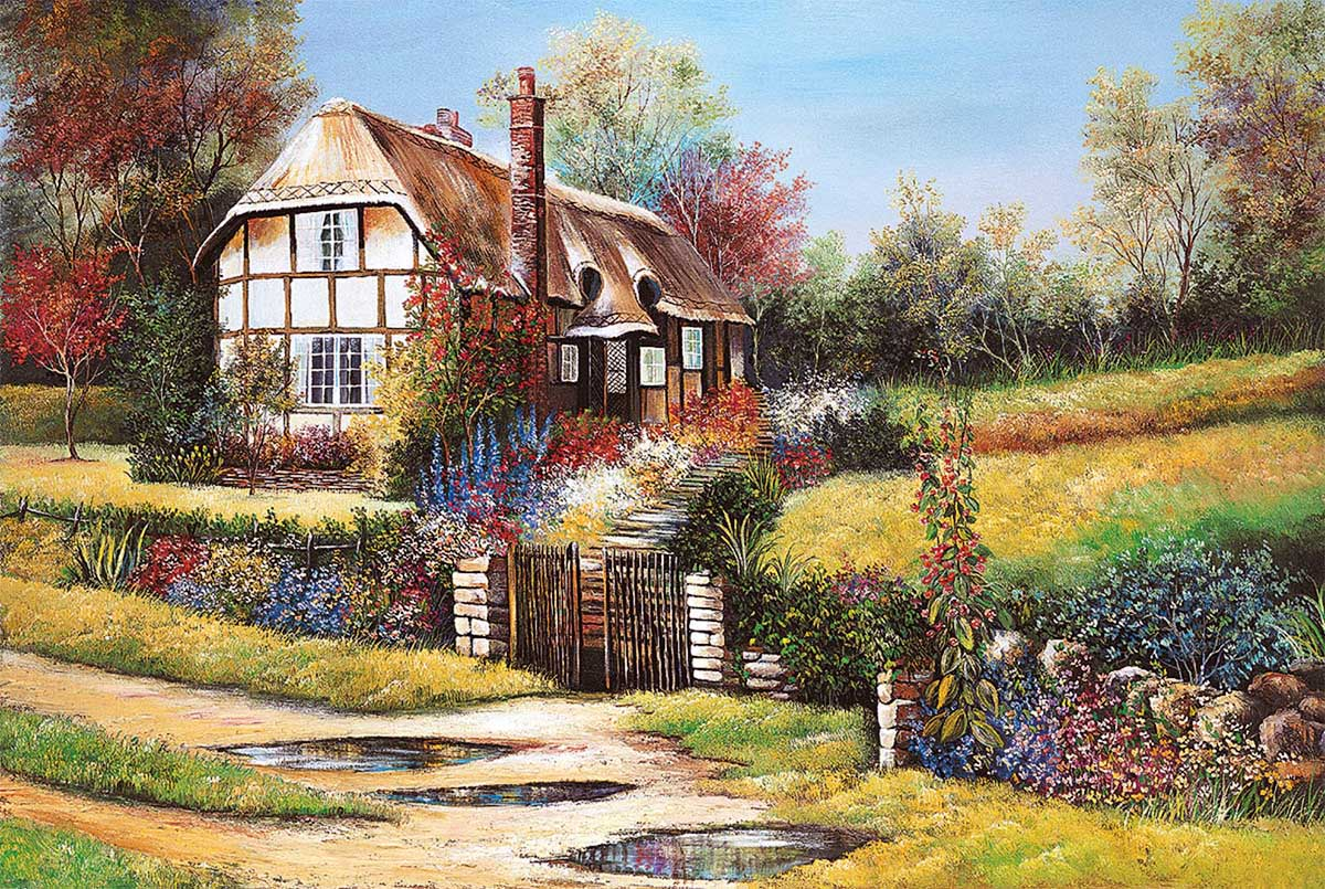 Garden Scene Flowers Jigsaw Puzzle