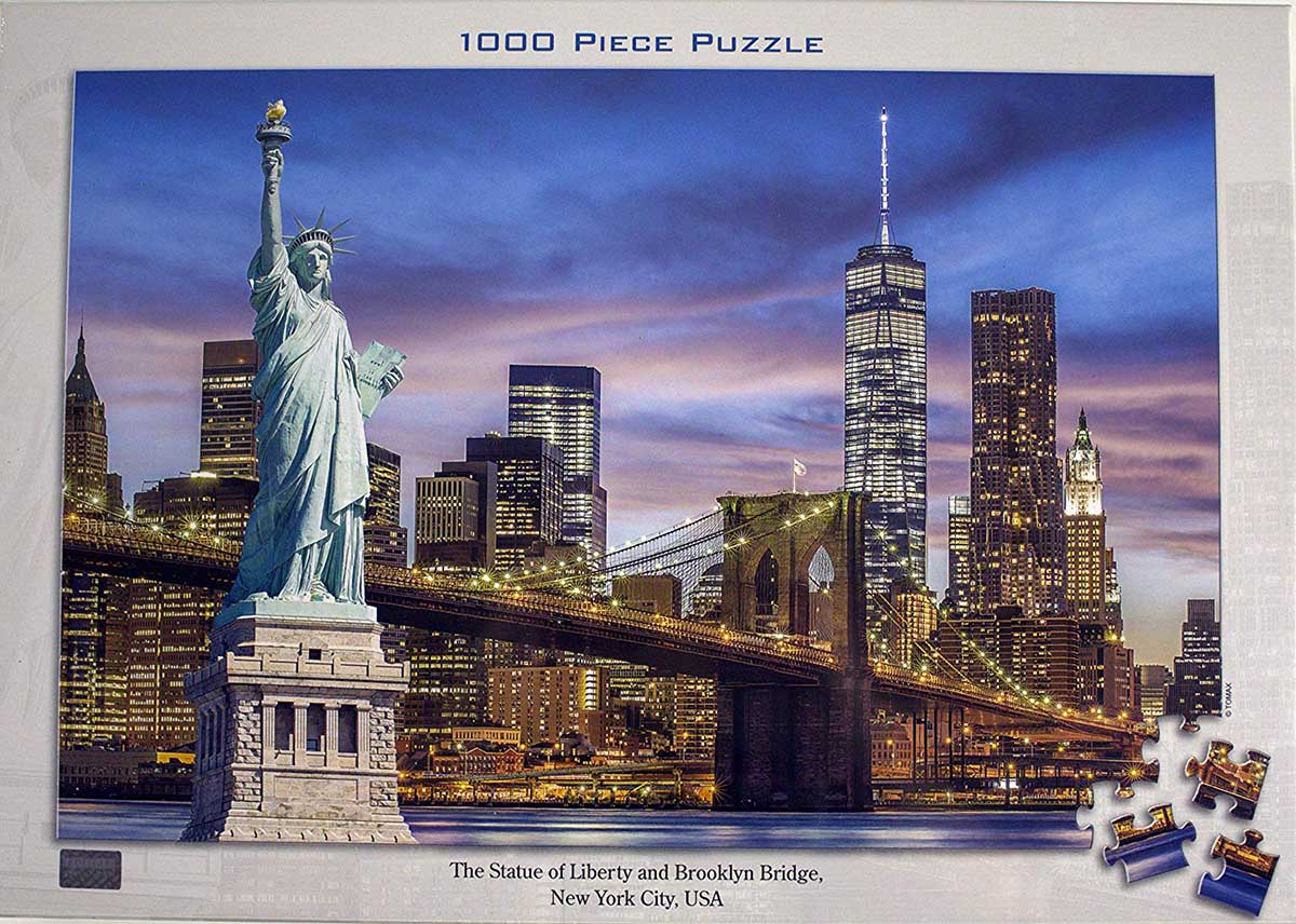 The Statue of Liberty and Brooklyn Bridge Landmarks / Monuments Jigsaw Puzzle