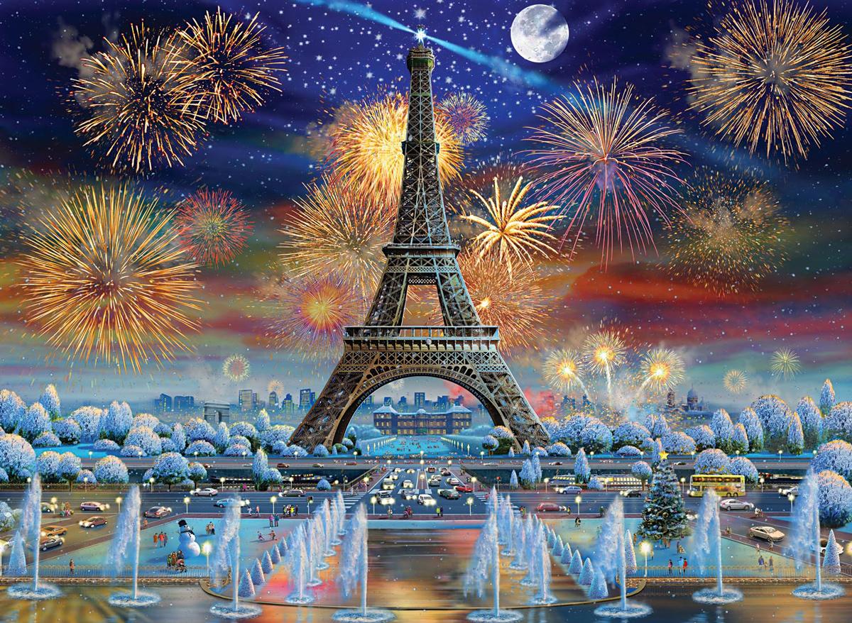 Eiffel Tower Celebration Paris Jigsaw Puzzle