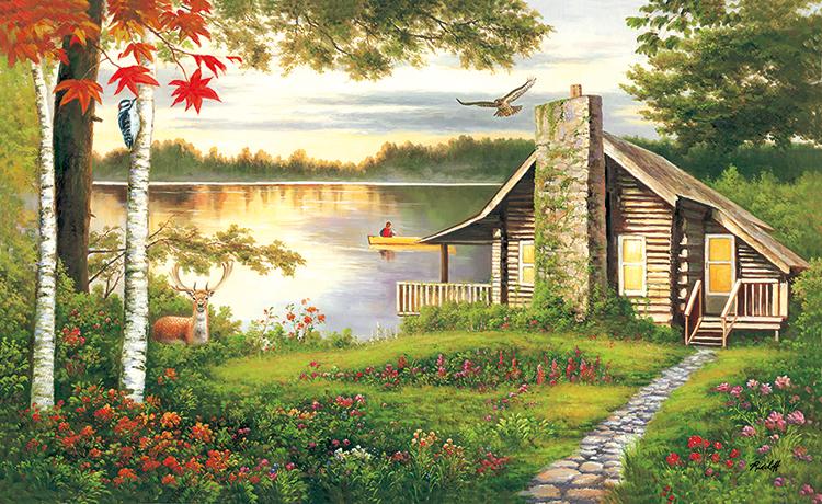 Misty Lake Cottage - Scratch and Dent Landscape Jigsaw Puzzle