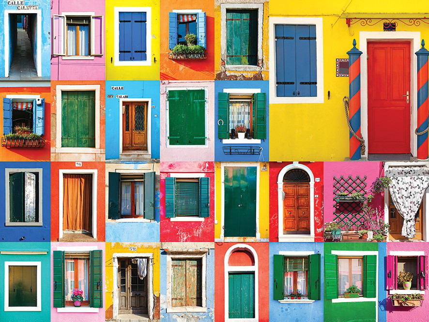 Colorful Doors - Scratch and Dent Everyday Objects Jigsaw Puzzle