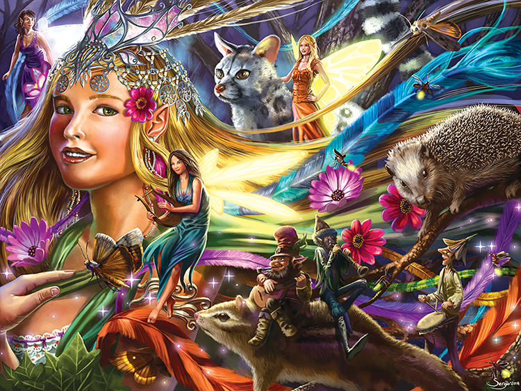 Queen of the Night Fairies Animals Glitter / Shimmer / Foil Puzzles