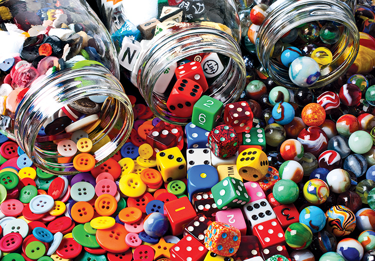Buttons, Dice and Marbles - Scratch and Dent Everyday Objects Jigsaw Puzzle