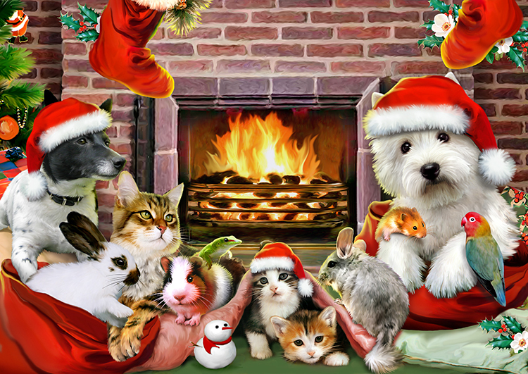 Christmas by the Fire Cats Jigsaw Puzzle