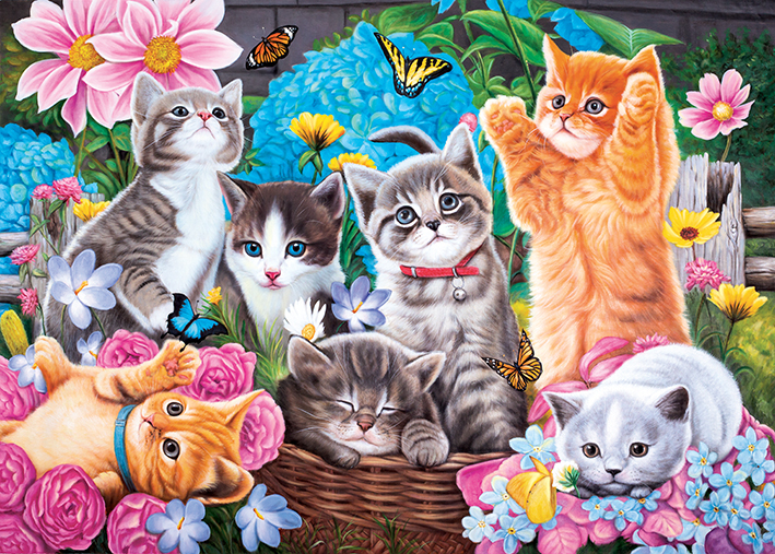 Playtime in the Garden - Scratch and Dent Cats Jigsaw Puzzle
