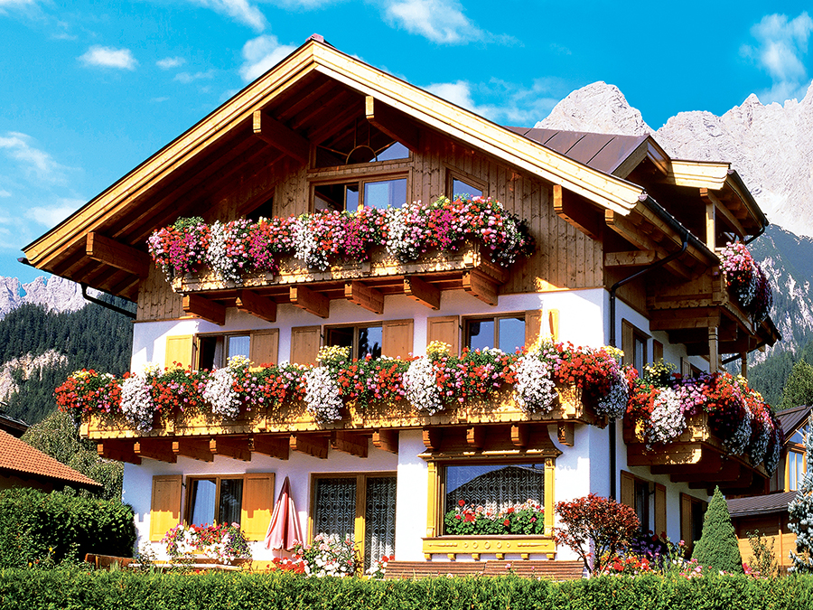 Flower Farmhouse, Austria (Colorluxe) - Scratch and Dent Flowers Jigsaw Puzzle
