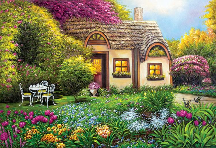 Garden Cottage Spring Jigsaw Puzzle