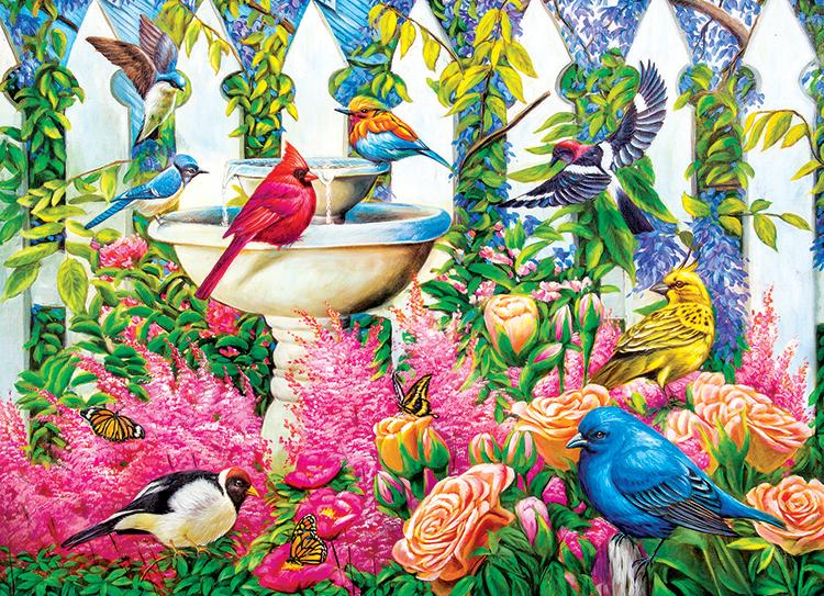 Fountain Gathering Birds Jigsaw Puzzle