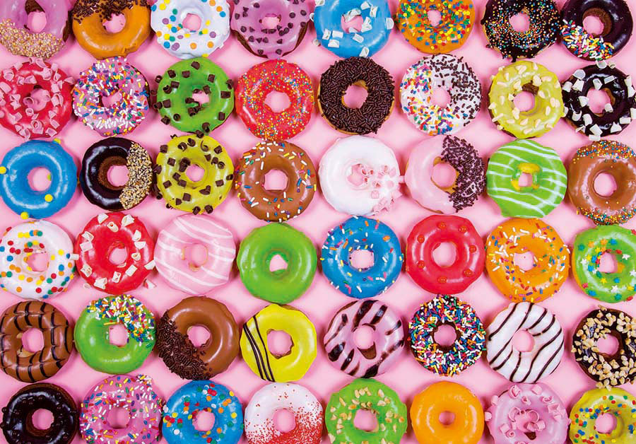 Colorful Donuts (Colorluxe 1500) - Scratch and Dent Sweets Jigsaw Puzzle