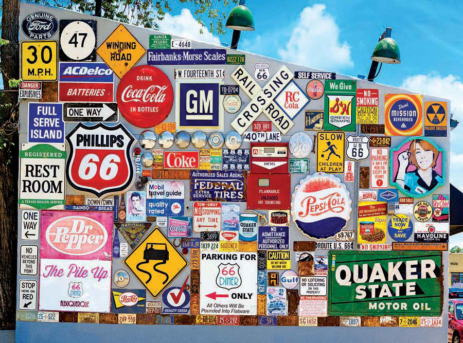 Old Ad Signs, Road Signs, and Vehicle License Plates on Route 66 - Scratch and Dent Everyday Objects Jigsaw Puzzle