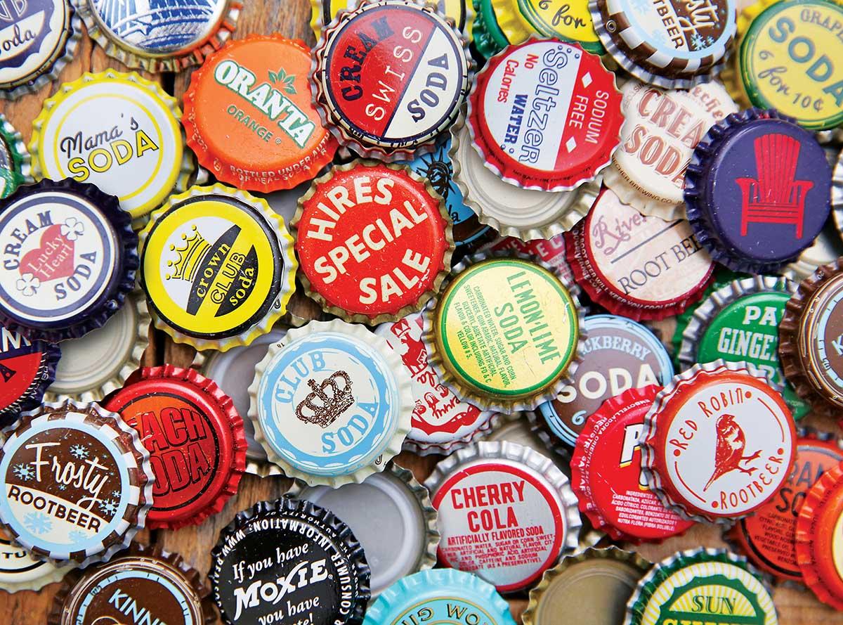 Vintage Soda Cap Bottles Nostalgic / Retro Jigsaw Puzzle