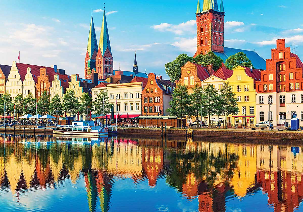 Scenic Summer Sunset Lubeck Germany Summer Jigsaw Puzzle