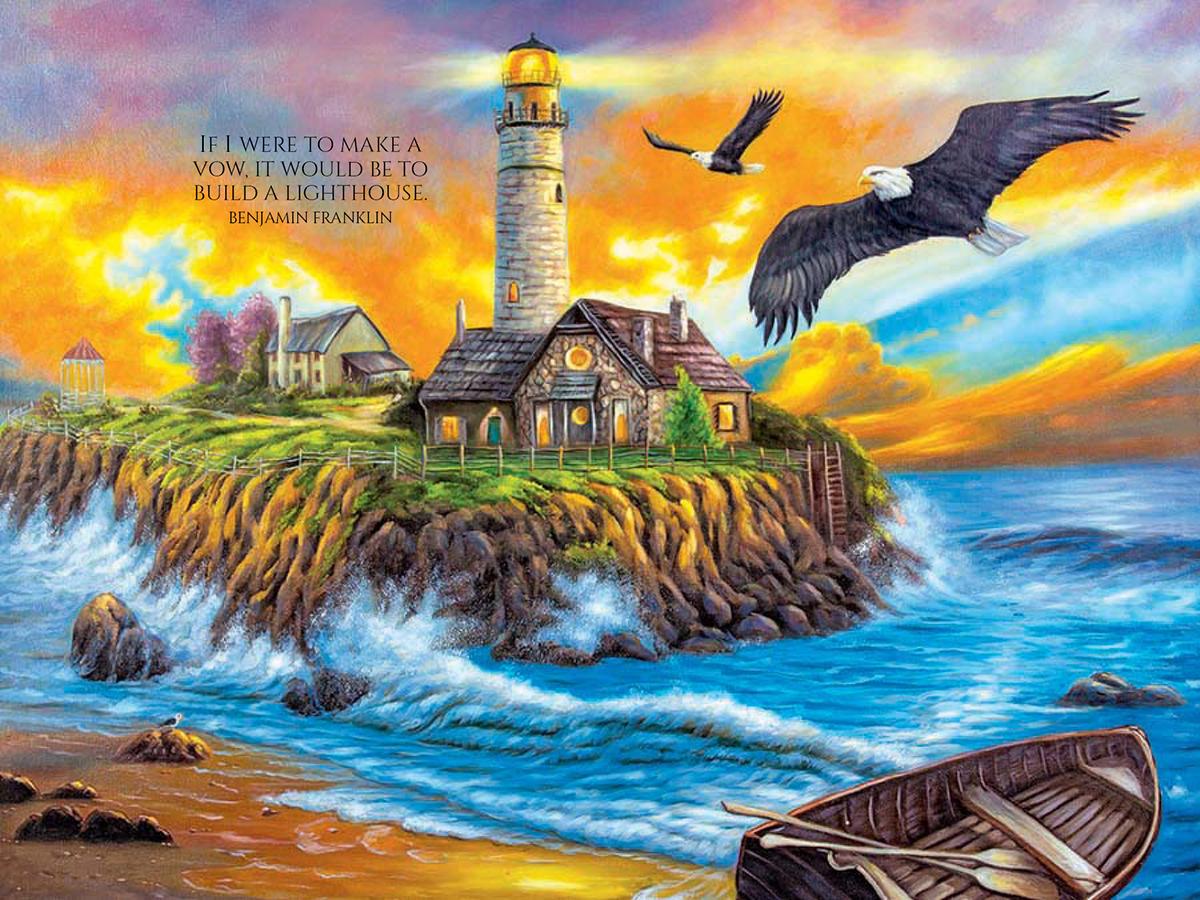 Sunset Cove Lighthouse Lighthouses Jigsaw Puzzle